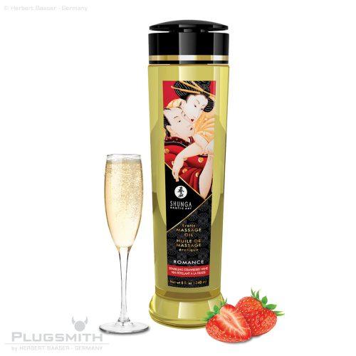 SHUNGA Massage Oel Romance Sparkling Strawberry Wine. 240 ml für die Ganzkörper Massage.