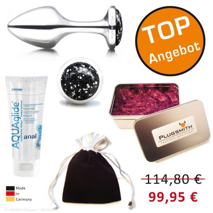 PLUGSMITH Analplug Angebot. Edelstahl Analplug mit Joydivision Gleitgel, Dose und Samtsäckchen.