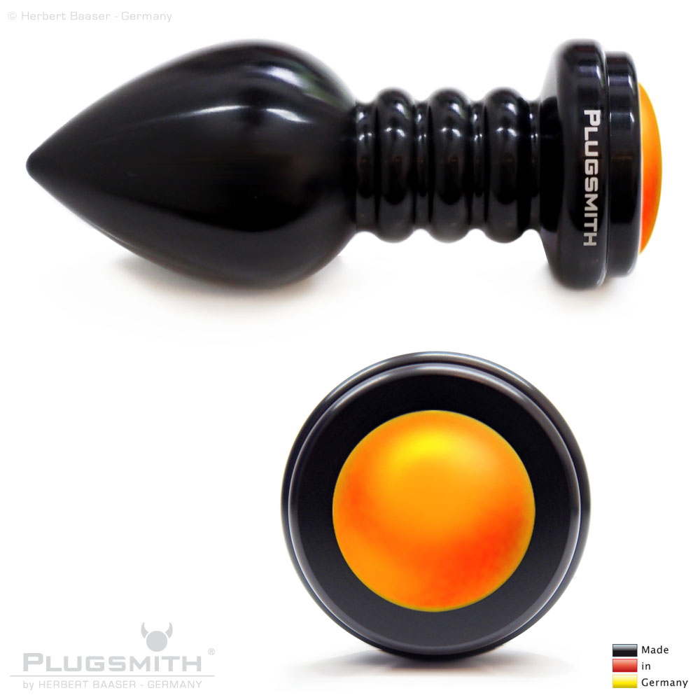 Analplug oder Buttplug mit Stein in Orange.